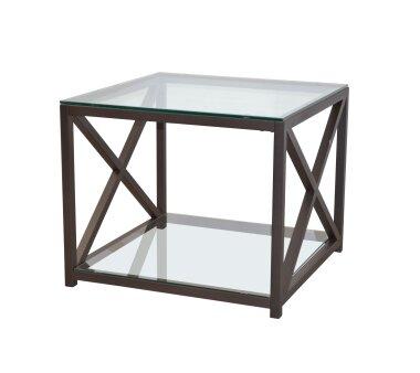 Beistelltisch 2925, mit 2 Glasplatten, braun