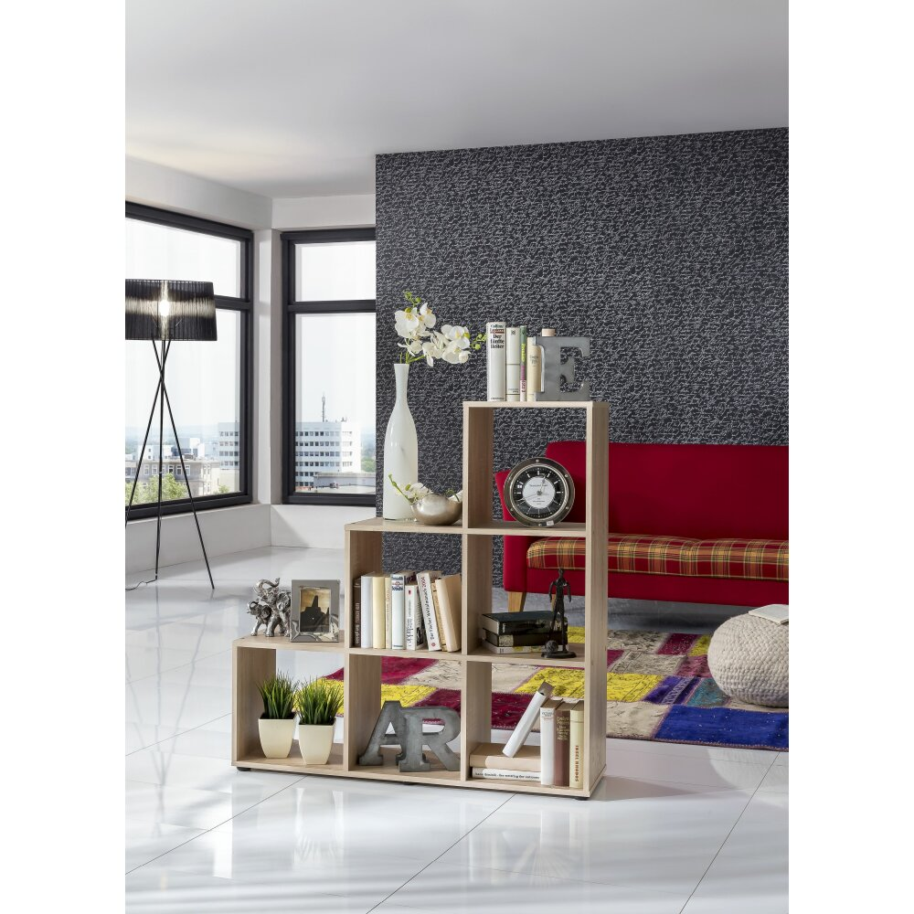 regal treppenregal eiche s gerauh 6 f cher wohnfuehlidee. Black Bedroom Furniture Sets. Home Design Ideas