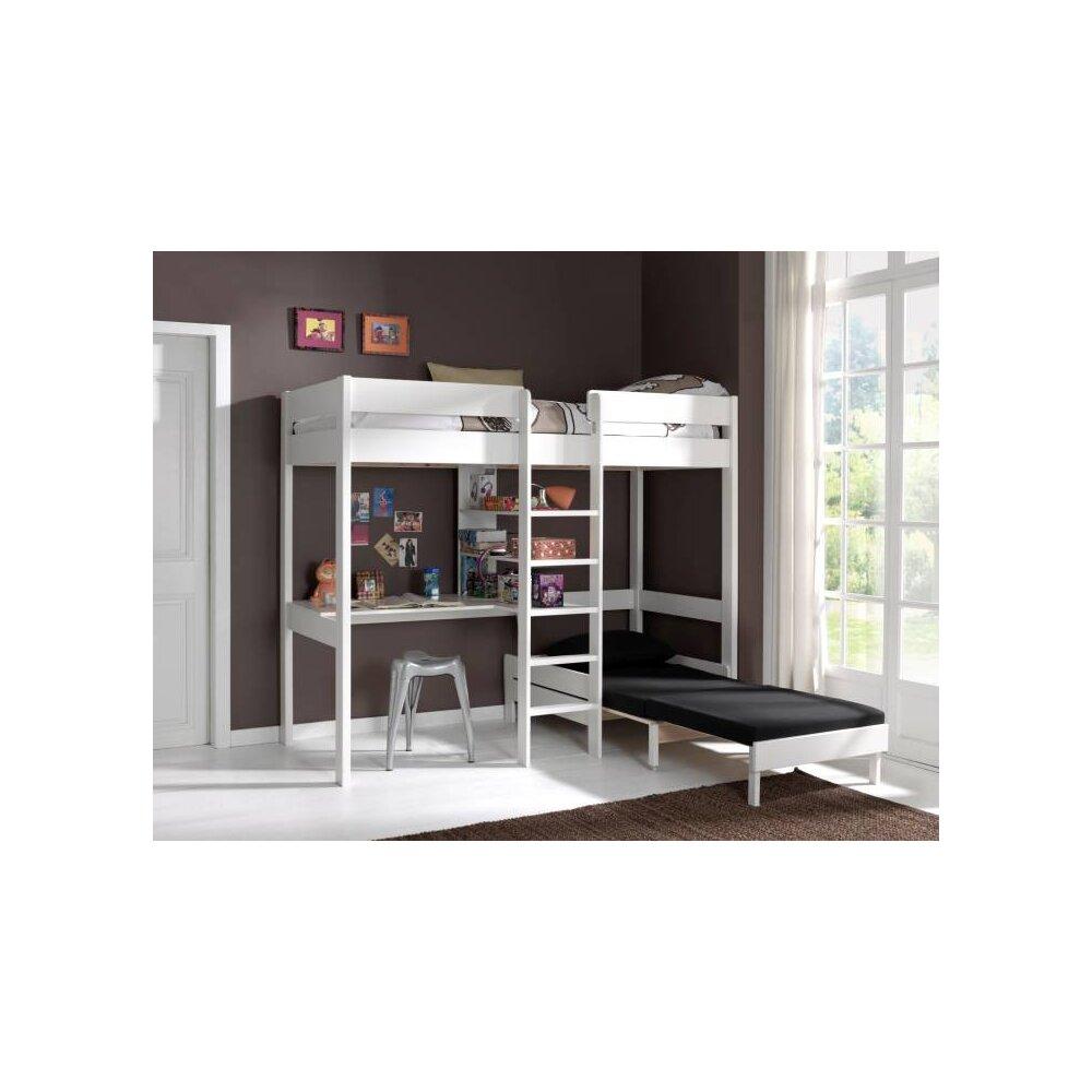 hochbett pino 90x200 cm schreibplatte sesselbett wei. Black Bedroom Furniture Sets. Home Design Ideas