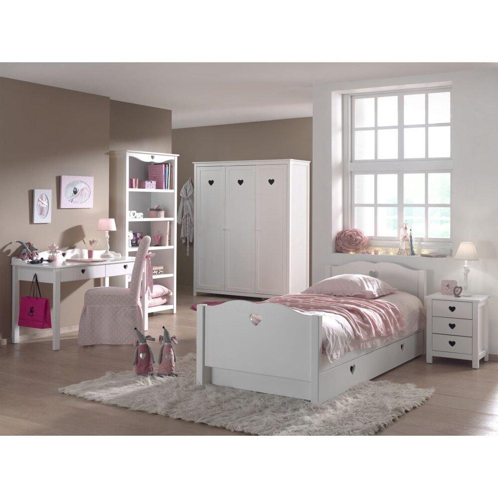Vipack Kinderzimmer Set Amori, 6 Teilig   Einzelbett, Bettschublade,  Schrank 3 Türig, Schreibtisch, Regal U0026 Nachtkonsole, Weiß