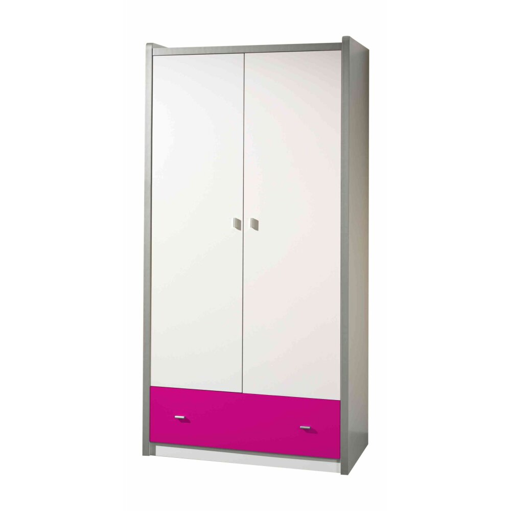 vipack kleiderschrank bonny 2 t rig wei fuchsia kaufen. Black Bedroom Furniture Sets. Home Design Ideas