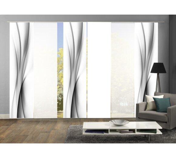 6er set schiebegardinen ufa grau wohnfuehlidee. Black Bedroom Furniture Sets. Home Design Ideas