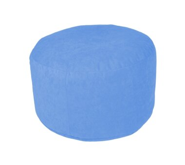 Pouf Microvelour hellblau, Ø ca. 47 cm