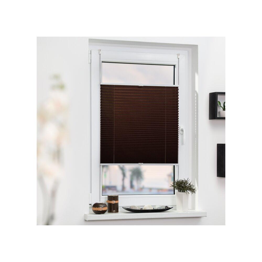 plissee faltstore braun 65x130 cm verspannt. Black Bedroom Furniture Sets. Home Design Ideas