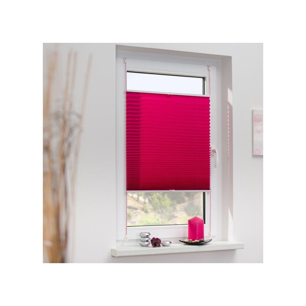 plissee faltstore fuchsia 85x130 cm verspannt. Black Bedroom Furniture Sets. Home Design Ideas